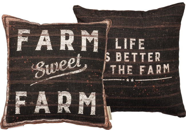 "Farm Sweet Farm - Indoor/Outdoor Pillow 16"" square"
