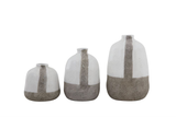 Grey and White Terra Cotta Vases, 3 sizes