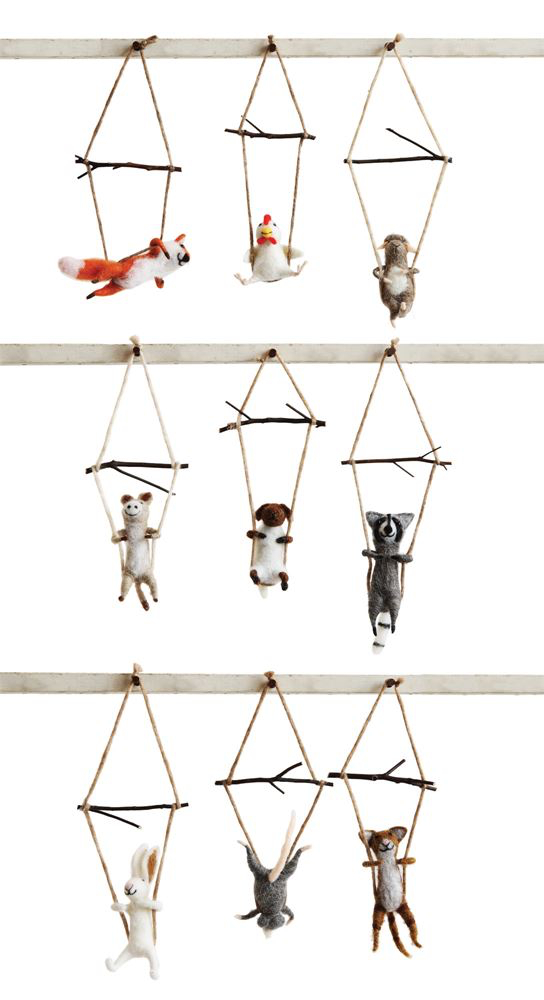 Wool Trapeze Animal Ornament, 9 Styles