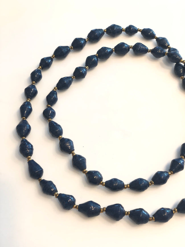 Cobalt Blue Paper Bead Necklace
