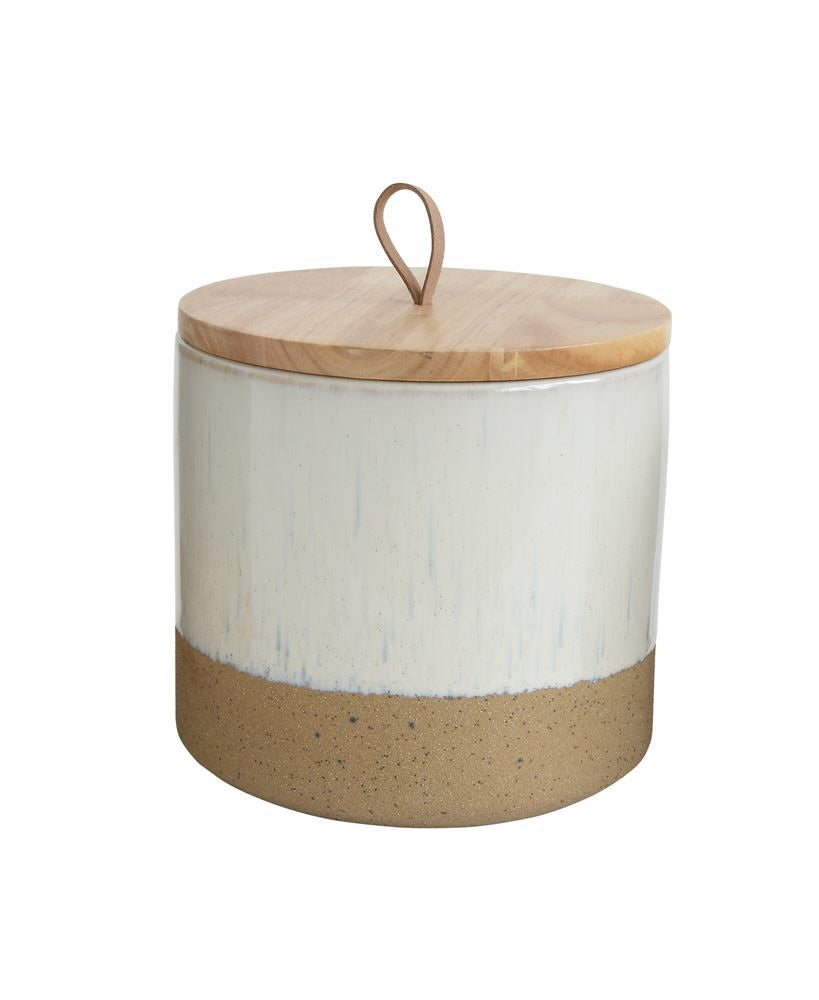 Stoneware Jars with Wood Top and Leather Loop : Grey, Cream and Grey Green