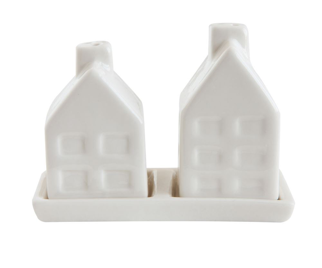 "The most adorable thing on your table this holiday!  Tiny White House Salt and Pepper Shakers  3-1/2""L x 2-3/4""H Ceramic House Salt & Pepper Shakers w/ Tray, White, Set of 3"