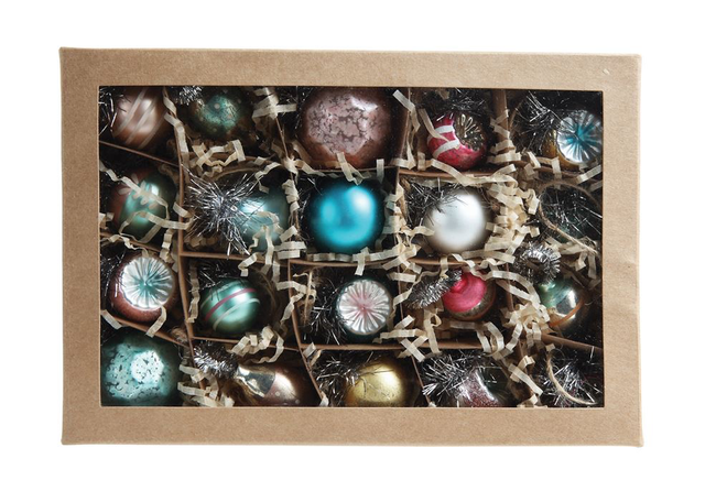 Glass Pastel Mini Ornaments : Boxed Set of 20   Each are about 1 inch and they are perfect for decorating a smaller tree or as a super cute gift!