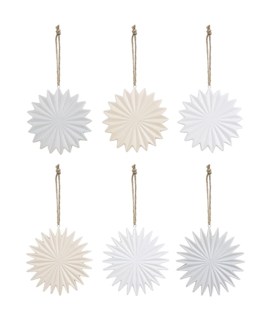 Neutral Stone Snow Flake Ornaments - 3 Colors