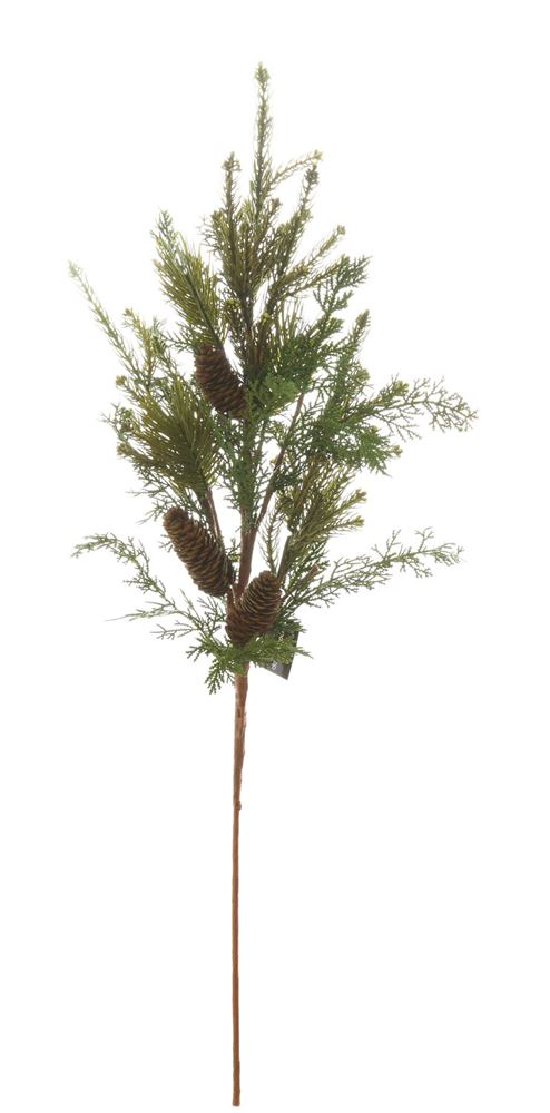 Artificial Pine Branch with Pine Cones, Green