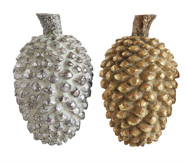 Resin Pinecones, 2 colors and sizes.  Dusty Grey/Blue and Gold  Approx 6 H