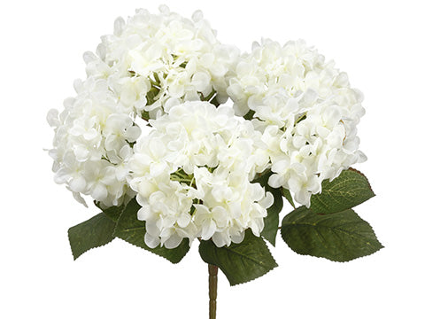 These incredible faux hydrangea stem come with 5 large flowers on each steam.  Made from silk and have flexible wiring for adjusting! Perfect inside any vase or pitcher.  14""