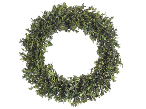 You wanted wreaths ..so here they are! This wreath looks totally like real boxwood, but it will last season after season.   You can also ask for your choice of ribbon to hang if you love that look like we do!   This is the perfect spring to summer wreath that will always be big and green.  Perfect for your front door.  22""