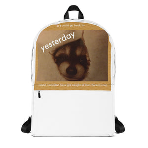 Backpack with baby raccoon image - smooth camp zone