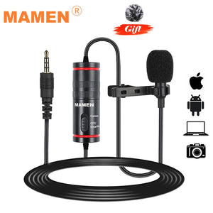 MAMEN Microphone 8m Clip-on Lavalier Mini Audio 3.5mm Collar Condenser Lapel Mic for Recording Canon / iPhone DSLR Cameras - smooth camp zone