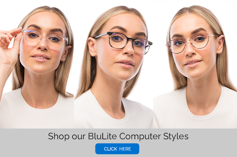 Woman wearing BluLite computer glasses from BLUblox