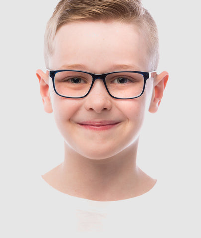 Child wearing a pair of BluLite computer glasses