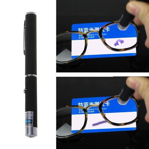 Example of the blue pen test on a pair of lenses