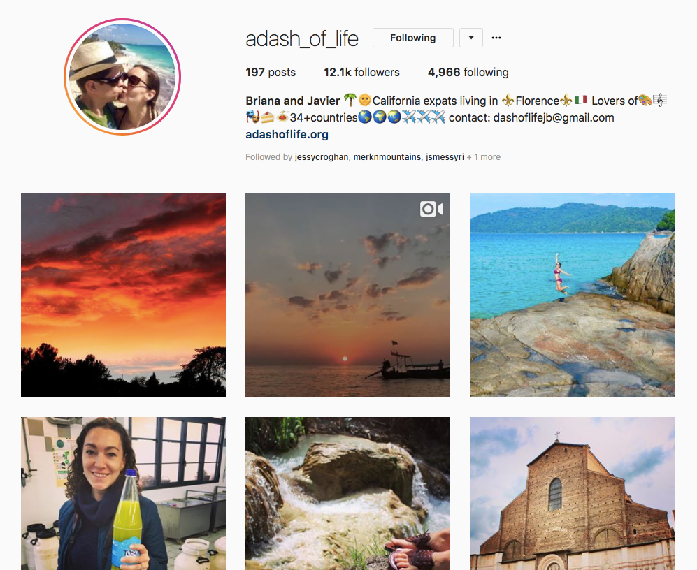 Instagram Travel Influencer Interview: Briana & Javier @adash_of_life