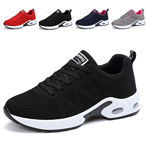 d2e20bde9a6d9 JARLIF Women's Breathable Fashion Walking Sneakers Lightweight Athletic  Tennis Running Shoes (8.5 B(M), Black)