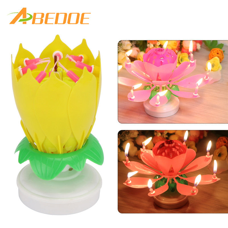 ABEDOE Musical Lotus Flower Happy Birthday Party Gift Music Candle Cake Topper Romantic Light Lamp