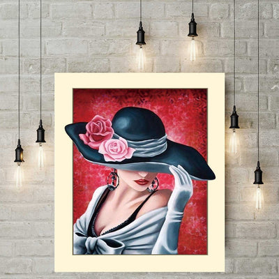 Diamond Painting - Frau mit Hut