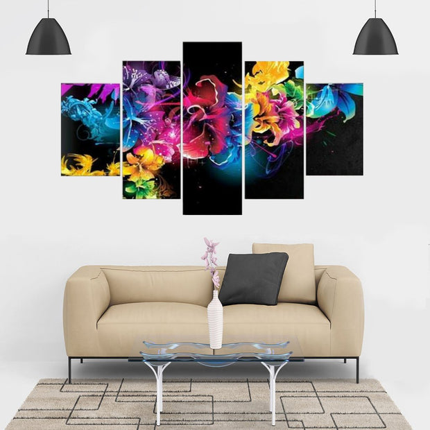 Diamond Painting - Multi-Bild Neon Blumen