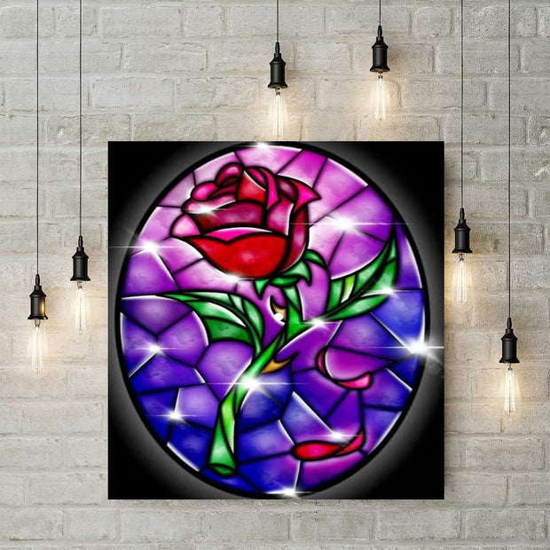 Diamond Painting - Glasmalerei Rose