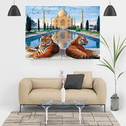 Diamond Painting - Tiger vor dem Taj Mahal
