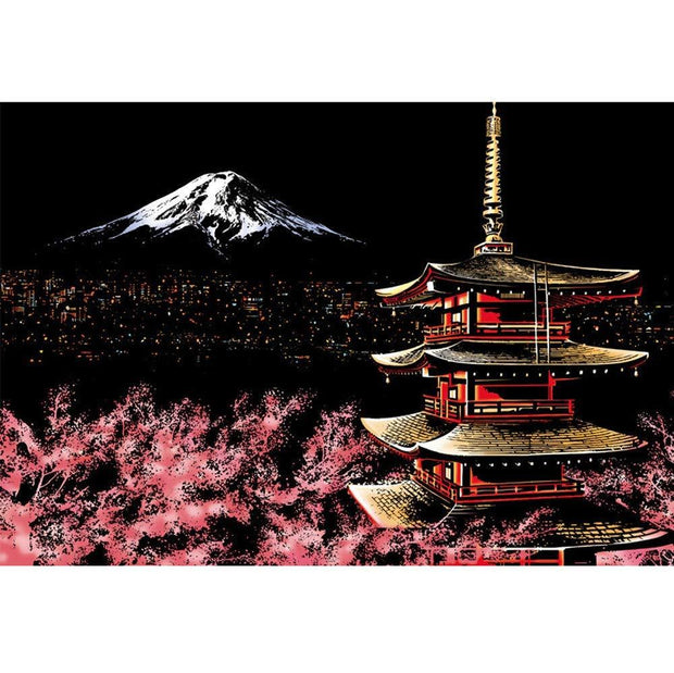 Scratch Painting - Cherry Blossoms - Berg Fuji in Japan