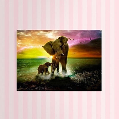 XXL - Diamond Painting - Elefant & Baby