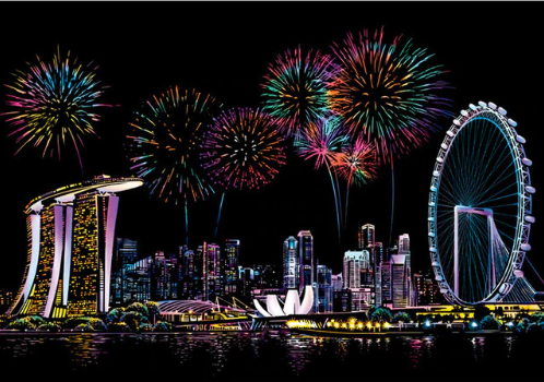 Scratch Painting -  Feuerwerk in Singapore