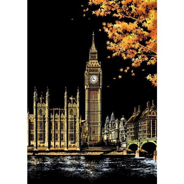 Scratch Painting - Big Ben London England