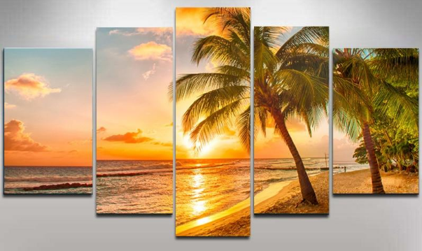 Diamond Painting - Multi-Bild Sonnenuntergang am Strand