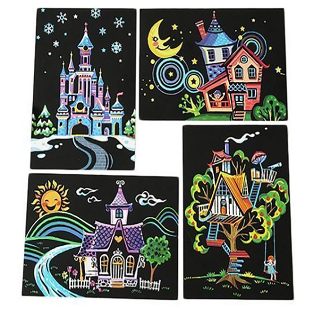 Scratch Painting - 4er Set Traumhaus Postkarten Set