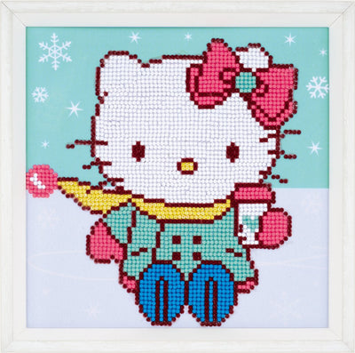 Diamond Painting Teilbild - Hello Kitty im Schnee - 22x22 cm