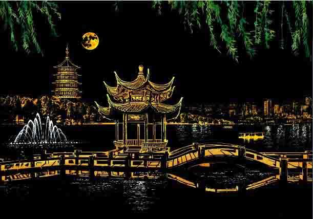 Scratch Painting -  West Lake Hangzhou Tempel China