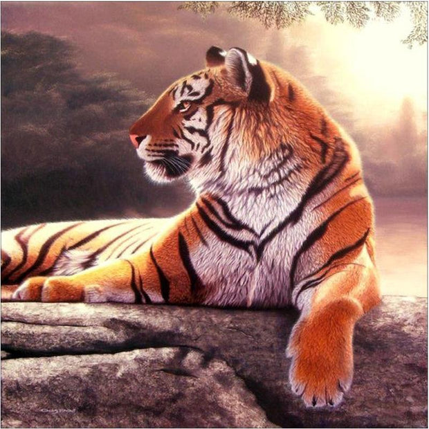XXL - Diamond Painting - Liegender Tiger