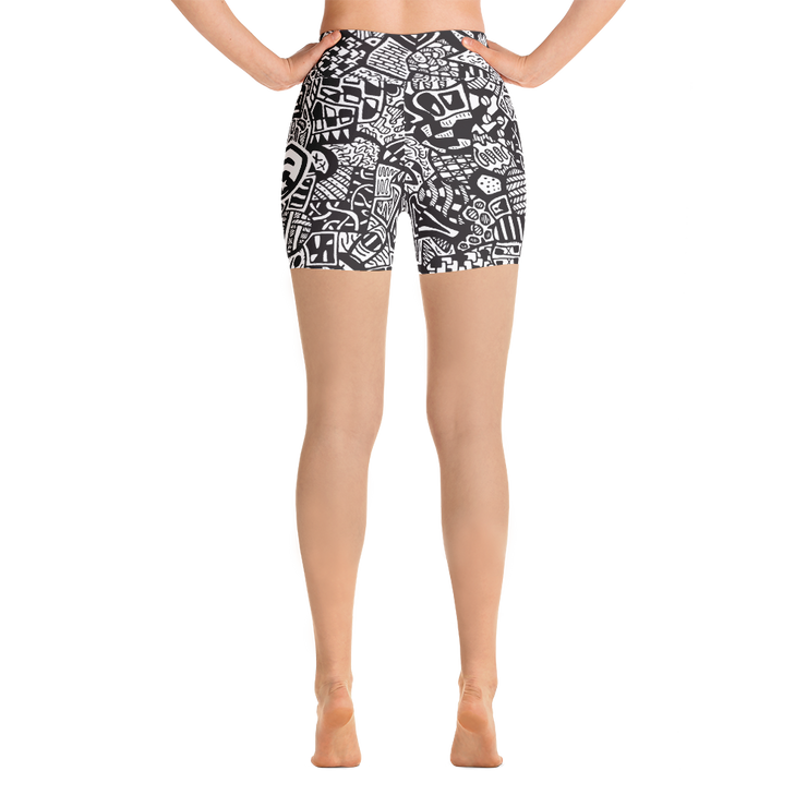 All Over Doodle Yoga Shorts