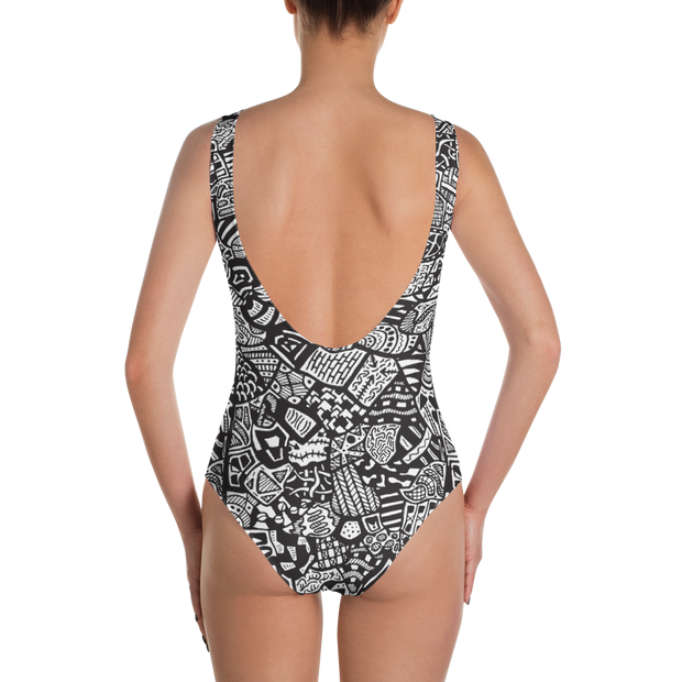 All Over Doodle One Piece Bathing Suit