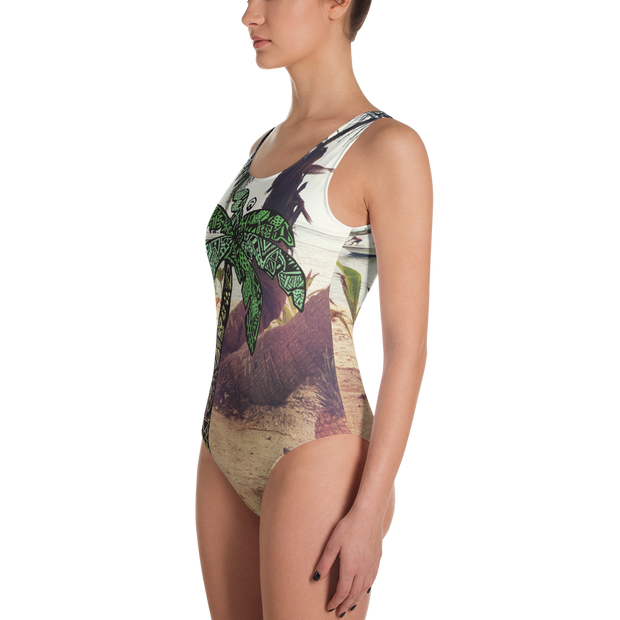 Palm Tree One Piece Bathing Suit