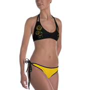 Sunflower & White Pineapple Reversible Bathing Suit
