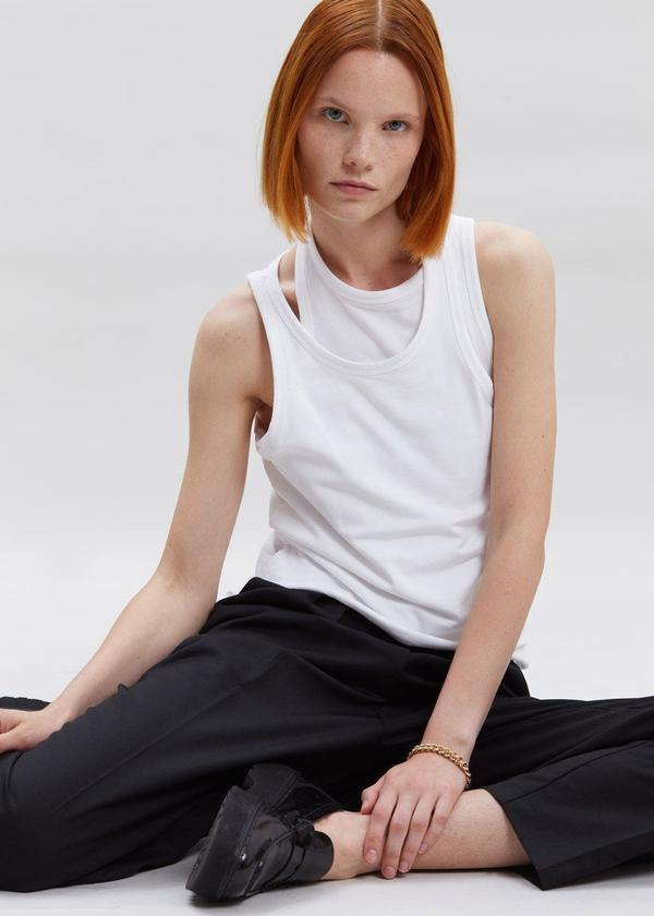 Asymmetric Layer Tank / White Womens Frankie Shop