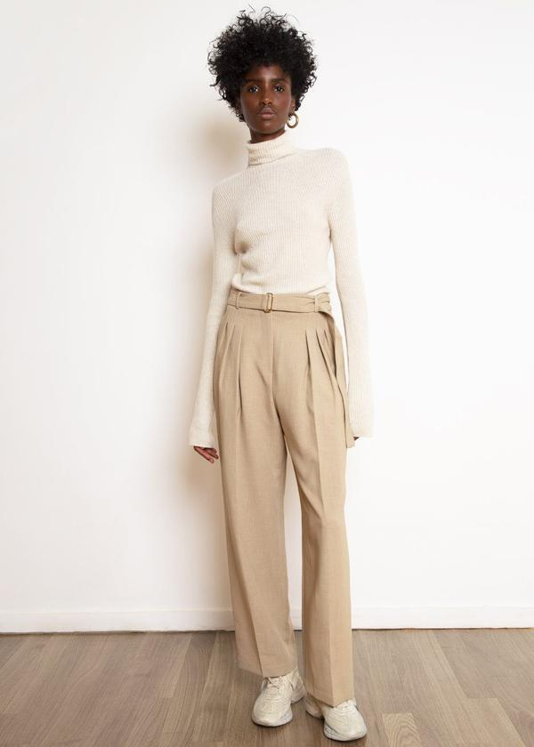 Belted Suit Pants / Wheat Womens Frankie Shop
