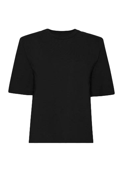 Carrington Padded Shoulder Tee / Black Womens Frankie Shop