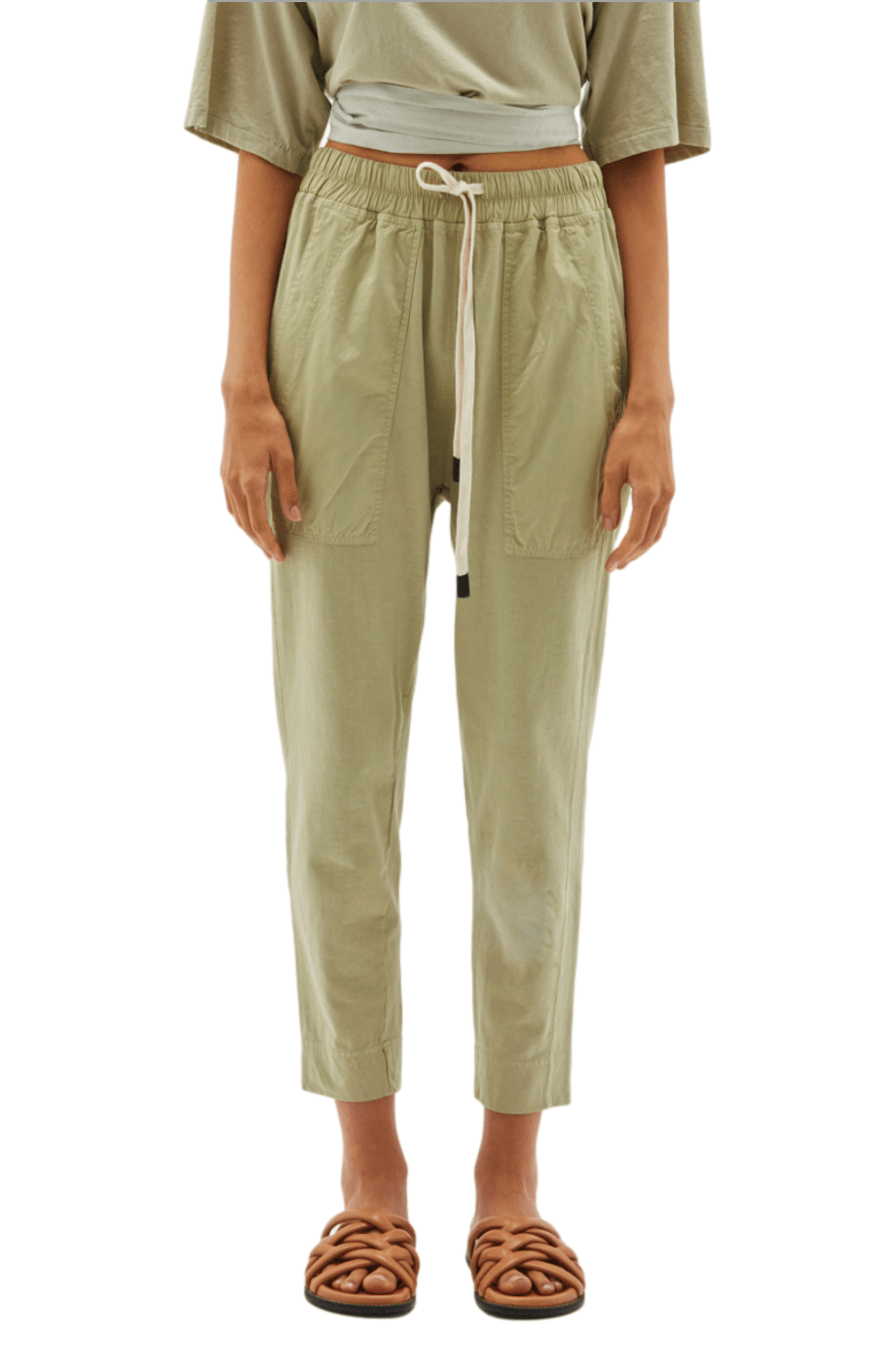 Double Jersey Contrast Tapered Pant / Sedative Sage Womens Bassike