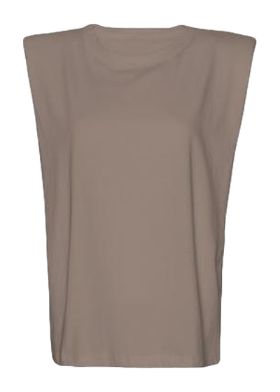 Eva Padded Shoulder Muscle T-Shirt / Mocha Womens Frankie Shop