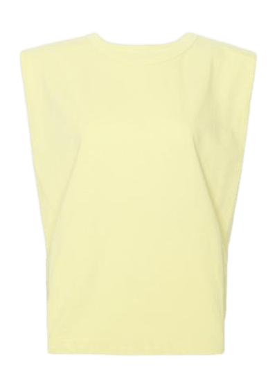 Eva Padded Shoulder Muscle T-Shirt / Pale Yellow Womens Frankie Shop