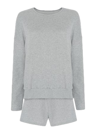 Jaimie Cotton Top and Shorts Set / Light Grey Womens Frankie Shop