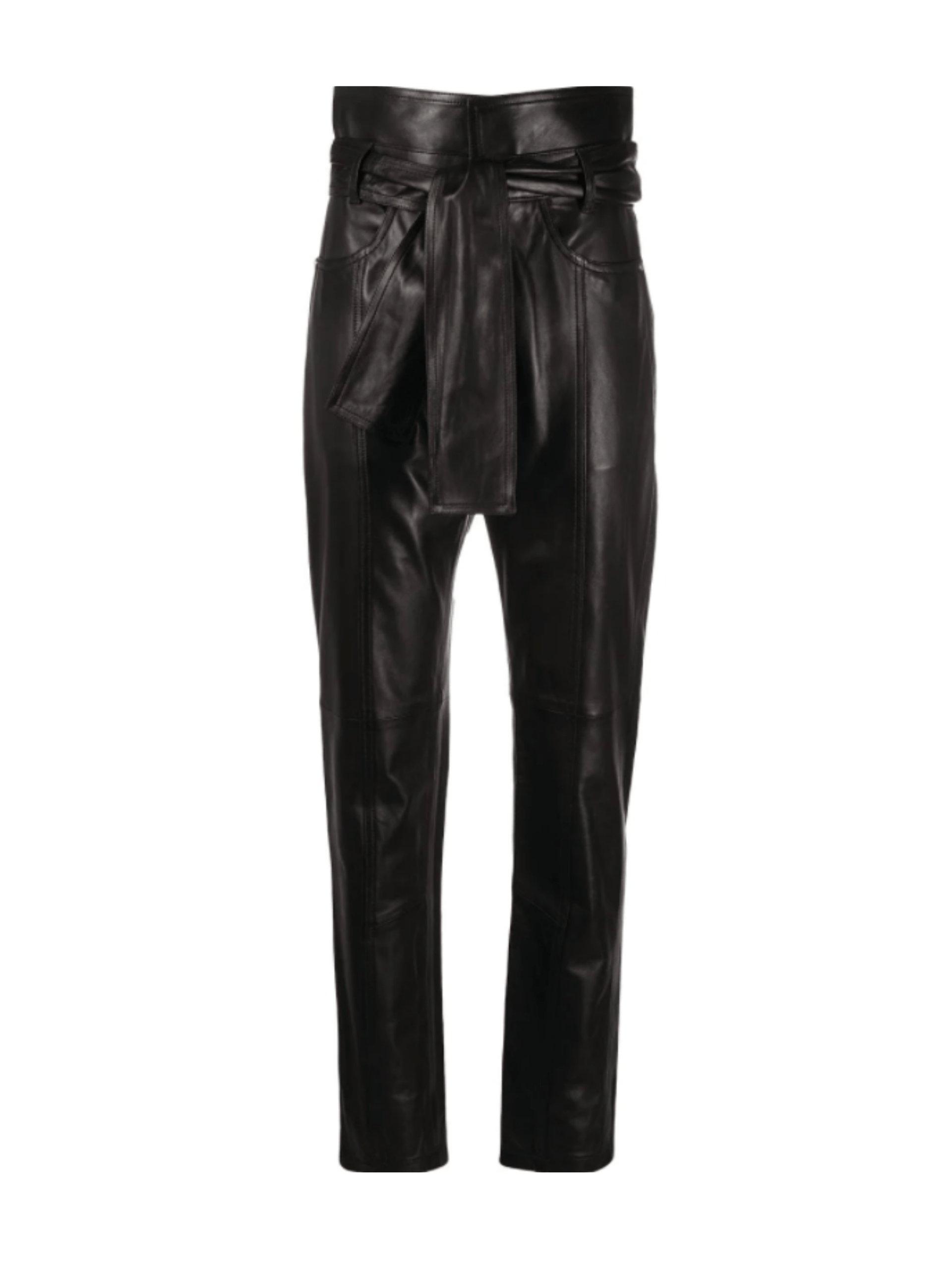 Limest Leather Paperbag Pants / Black Womens IRO