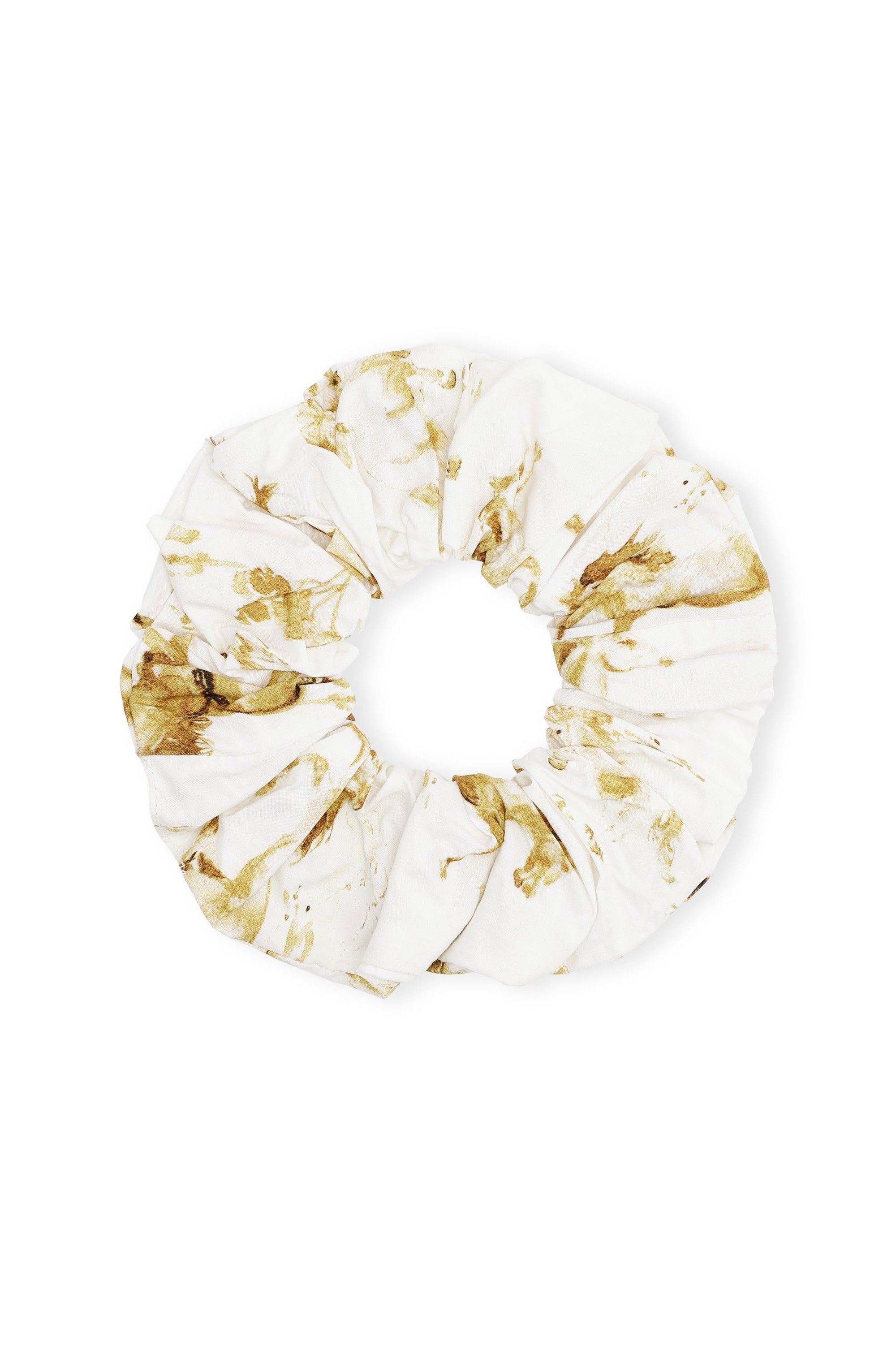 Printed Cotton Poplin Scrunchie / Cognac Womens Ganni