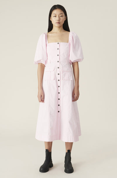 Ripstop Cotton Chino Dress / Cherry Blossom Womens Ganni