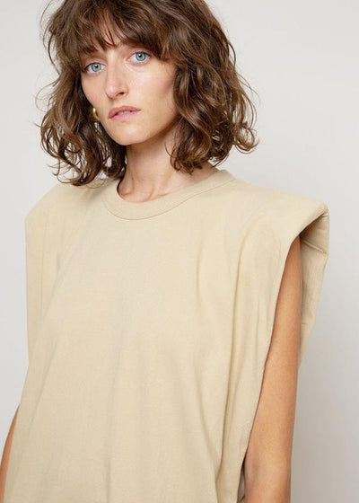 Tina Padded shoulder Muscle Dress / Almond Milk General Frankie Shop