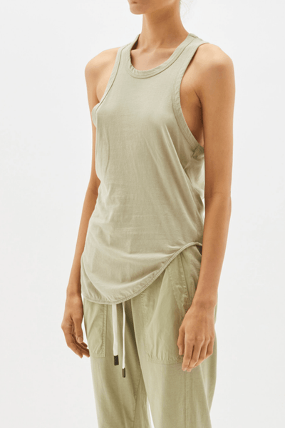 Wide Heritage Scoop Hem Tank / Sedative Sage Womens Bassike