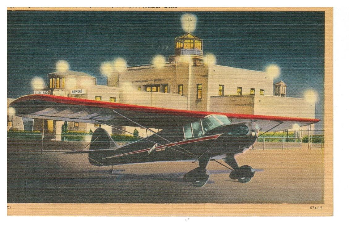 AIRPORT. NIGHT SCENE AT MUNICIPAL AIRPORT. OH. CLEVELAND. 1940'S LINEN. POSTCARD. USA.